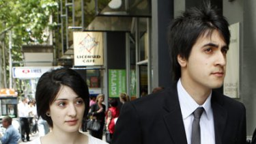 Student with a grudge ... Steve Slayo with his girlfriend Lisa outside court yesterday.