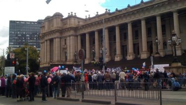 The march finishes at the steps of Parliament House.