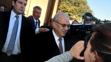 Eddie Obeid leaves court after being found guilty.