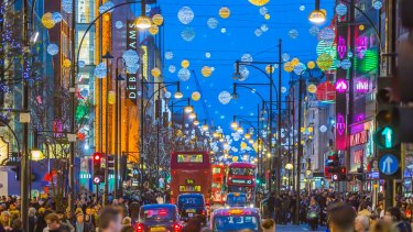 Christmas lights in London's Oxford Street.