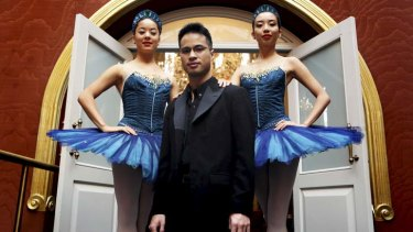 Grand performance: Pianist Hoang Pham with ballerinas Karen Nanasca and Jill Ogai at the Queen Victoria Building.