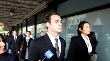 Brett Stewart arrives at Downing Centre District Court.