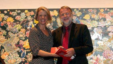 Movie deal in the offing ... Kristina Keneally presents Paul McGeough with the Douglas Stewart Prize last night.