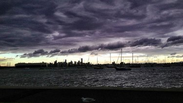 Skies look ominous at Williamstown at 3.30pm on Thursday afternoon.