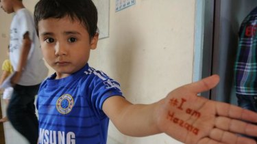 A child at the asylum seekers' new learning centre.