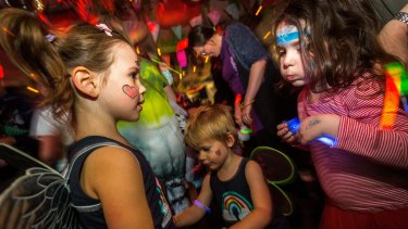 Lennox, 2 and Sadie, 4 from Kingsville enjoy the Big Fish Little Fish family rave party at La Di Da yesterday.