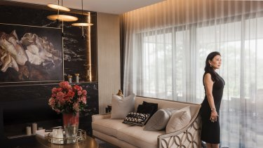 Monika Tu, founder and director of Black Diamondz Property Concierge, in a client's home in Point Piper, Sydney.