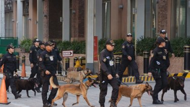 Bomb sniffing dogs walk outside a hotel at the Resorts World Manila complex.