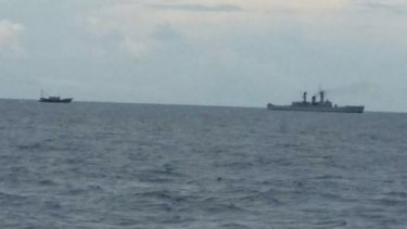 The Indonesian navy ship during the incident.