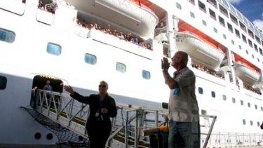 Pacific Dawn, the swine flu-infected cruise ship, in Brisbane.