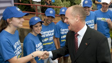 Campbell Newman meets with LNP supporters before opening the party's state election campaign in Ashgrove.