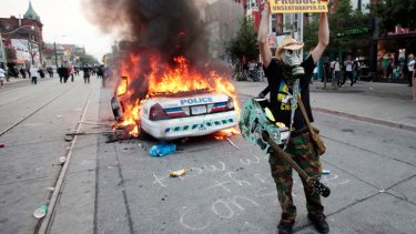 Protesters make their mark at the G20 summit in Toronto in 2010.