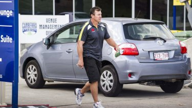 Raiders' coach, David Furner, leaves a meeting with the Raiders board at Canberra Stadium on Thursday morning.