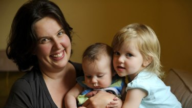 Ann Catchlove with Isabelle, 2, and Dylan, 3? months. She gave birth to Dylan at home.