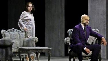 Tamar Iveri (left) in <i>A Masked Ball</i>. The La Fura del Baus production opened Opera Australia's 2013 Melbourne season.