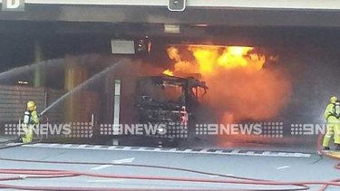 Firefighters tackle the bus blaze at The Esplanade
