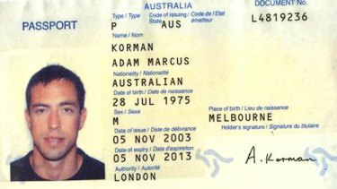 The passport copy of a man identified by Dubai authorities as Adam Marcus Korman of Australia.