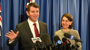 """Opportunity for further infrastructure"": Mike Baird and Gladys Berejiklian at the Ausgrid announcement."