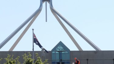 Workers construct new security infrastructure at the ministerial entrance to Parliament House in Canberra on Thursday 15 October 2015. Photo: Andrew Meares