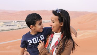 Manal al-Sharif with older son Aboudi, who she can only see when she visits Saudi Arabia.