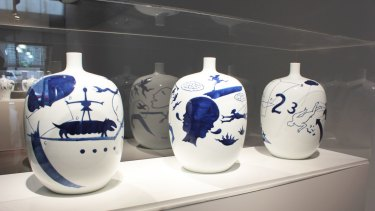 Ceramics from Guan Wei's <i>Archaeology</i> exhibition at Arc One Gallery.