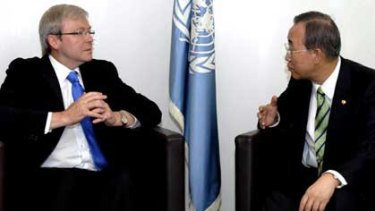 Kevin Rudd and UN Secretary-General Ban Ki-moon at a meeting in New York in September last year.