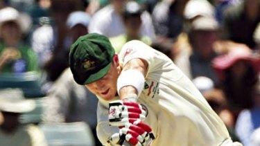 Textbook shot ... Australian wicketkeeper Brad Haddin keeps his head down batting at the WACA Ground yesterday. He scored 88 from 91 balls.