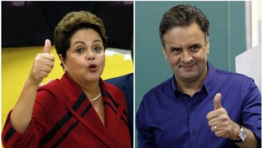Contrasting policies: Dilma Rousseff (left), of the Workers' Party, and Aecio Neves, of the Social Democratic Party.