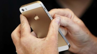 The gold colored version of the new iPhone 5s.