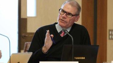 Senator John Faulkner during Budget Estimates at Parliament House. Photo: Alex Ellinghausen
