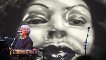 John Cale performs in <i>Signal To Noise</i>, with projections by Abigail Portner, at Hamer Hall as part of Supersense.