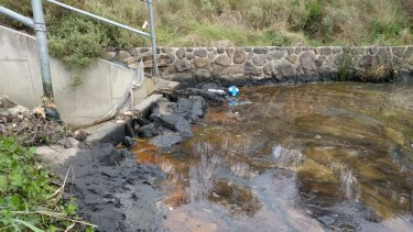 Oil dumped into Melbourne's stormwater system.