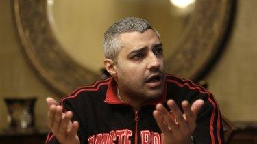 Canadian-Egyptian Al-Jazeera English journalist Mohamed Fahmy speaks in Cairo on Thursday.