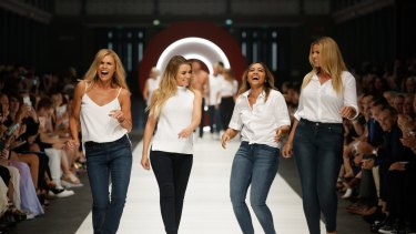 From left: Sonia Kruger, Dannii Minogue, Jessica Mauboy and Fiona Falkiner on the runway for Target.