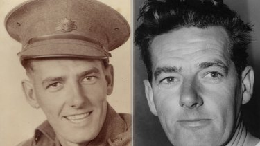 ''If ever another war starts, don't go to it'' … Jack Garrett as an Australian soldier during World War II, left, and as a sports star, right.