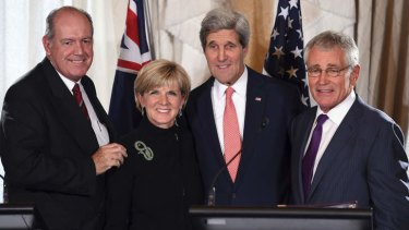 Australian Defence Minister David Johnston (left), with Foreign Minister Julie Bishop, US Secretary of State John Kerry and U.S. Secretary of Defence Chuck Hagel on Tuesday.