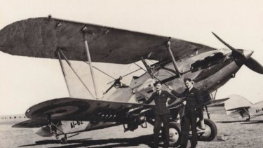 Appointed a flying instructor: Charles Read, right, at Wagga on the day war was declared in 1939.