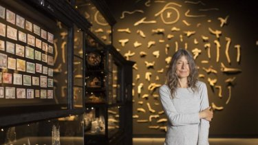 Adelaide artist Fiona Hall with her installation, <i>Wrong Way Time</i>. It is the inaugural exhibition in the new Australian Pavilion at the Venice Biennale.