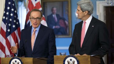 'I'm loyal to Julia Gillard'' ...  Bob Carr briefs reporters in Washington alongside US Secretary of State John Kerry.