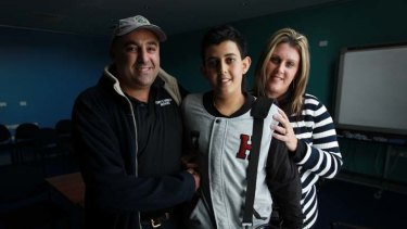 ''I feel lucky'' ... Daniel Sammut, 15, with his parents Tony and Rachael, uses a battery pack that powers an implant while he waits for a donor organ.