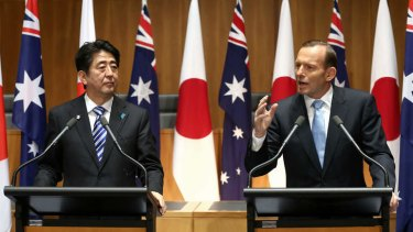 Prime Minister Tony Abbott and Japanese Prime Minister Shinzo Abe at a joint press conference in Canberra.