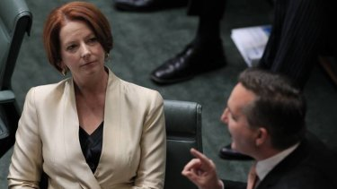 Prime Minister Julia Gillard and Immigration minister Chris Bowen during question time at Parliament House in Canberra
