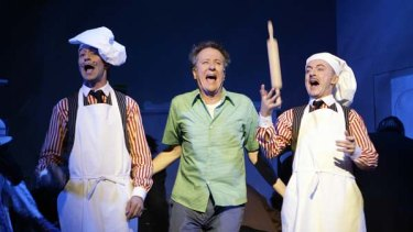 Awake ... Geoffrey Rush, centre, has been nominated as  best male actor in a musical for his role in 'The Drowsy Chaperone'.