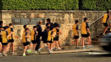 Growing: Students outside The Scots College.