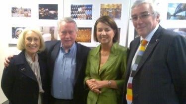 Helga Feeney, Chuck Feeney, Premier Anna Bligh and UQ Vice-Chancellor Professor Paul Greenfield.