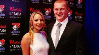 Alex McKinnon with partner Teigan Power at last year's Newcastle Knights awards night.