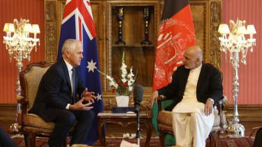 Prime Minister Malcolm Turnbull met with Afghan President Dr Mohammed Ashraf Ghani at Dilkusha in the grounds of the Presidential Palace in Kabul, Afghanistan on Monday.