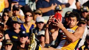 Eagle Josh Kennedy marks.