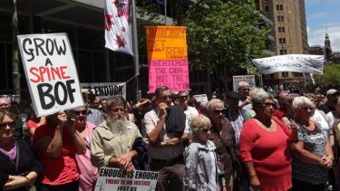 """Enough is enough"": protesters rally against street violence in Martin Place."