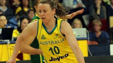 Kristi Harrower in Action for Opals, Australia v Brazil, Farewell Games at State basketball centre, 28/6/2012.
